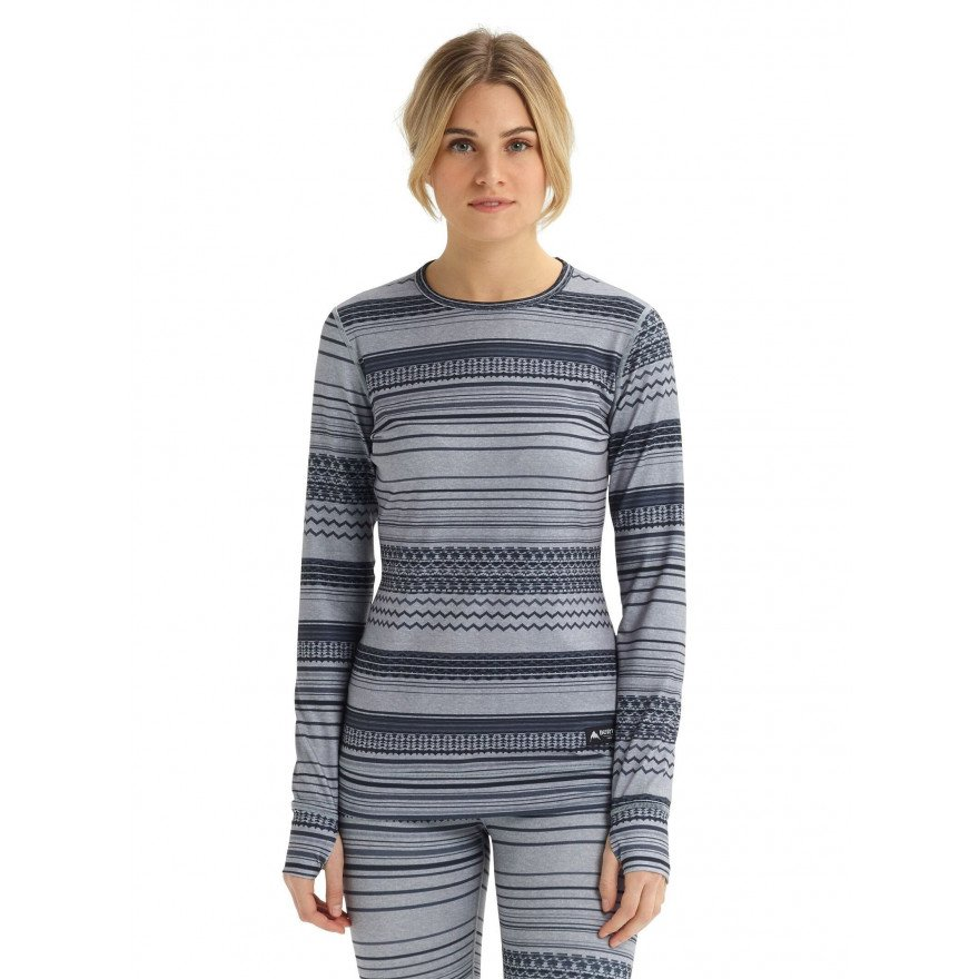 First Layer Bluza Burton Midweight - Gray Revel Stripe