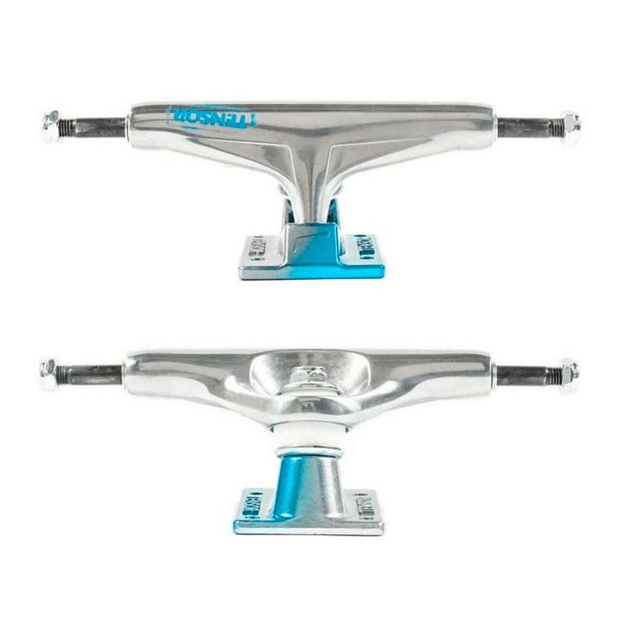 Axe Skateboard Tensor Alum Stencil Mirror - Raw Light Blue Fade
